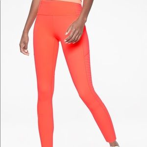 Athleta Contender Laser Cut 7/8 Tight Neon Orange